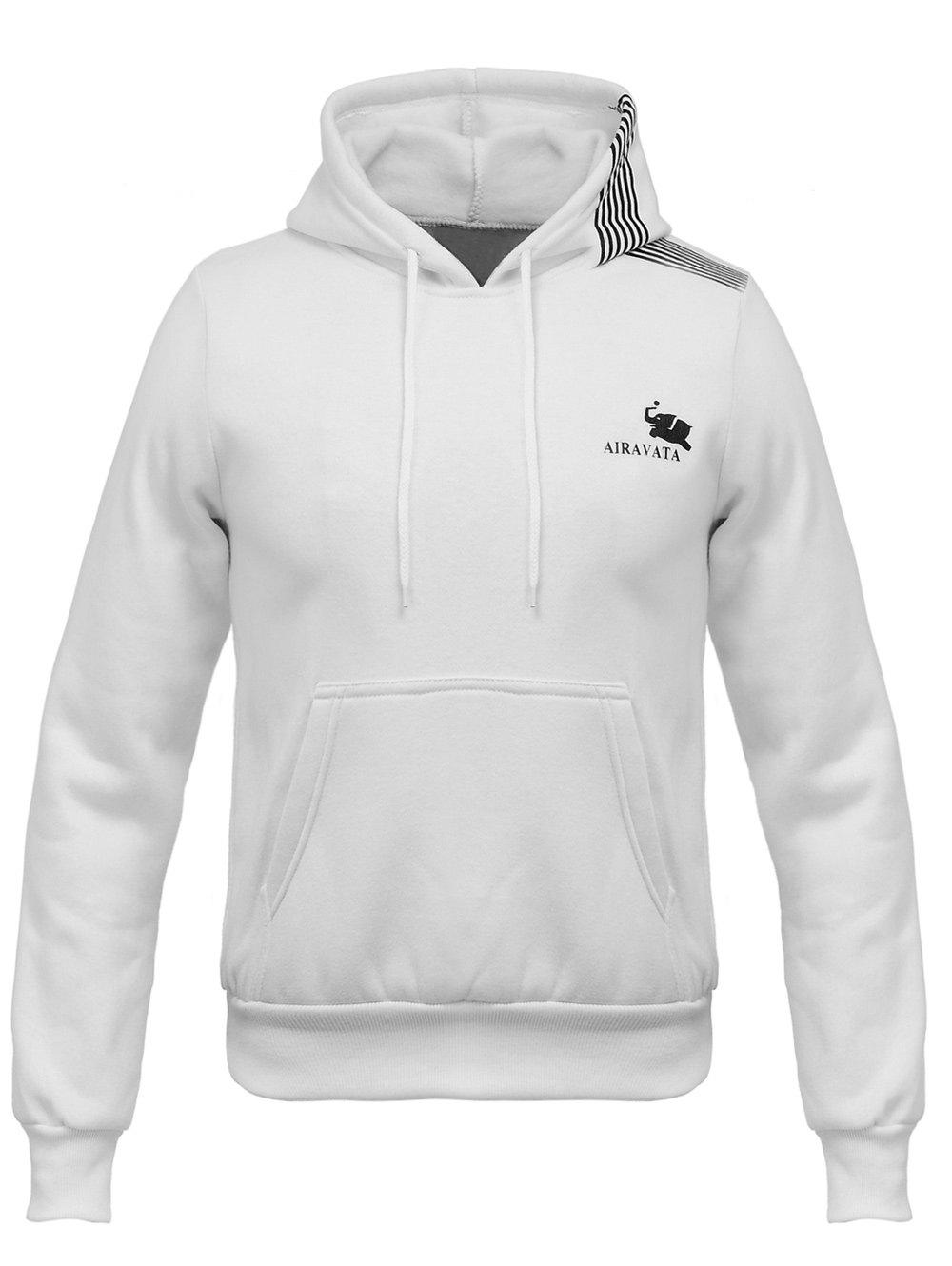 Oblique Stripe Hooded Elephant Print Flocking Hoodie - WHITE S