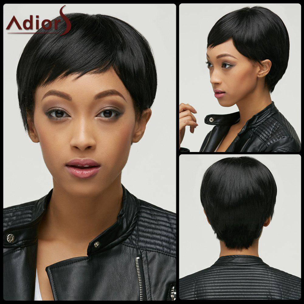 Masculine Women's Natural Black Ultrashort Synthetic Wig - BLACK