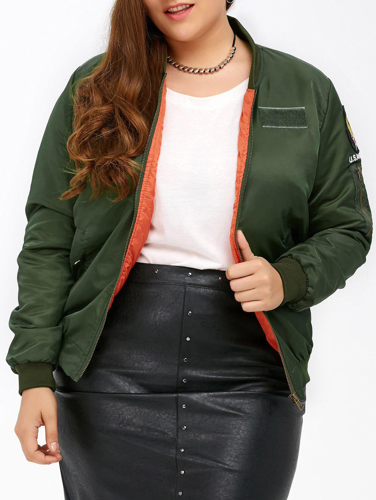76d02ad132 2018 Plus Size Patched Bomber Jacket ARMY GREEN XL In Plus Size ...