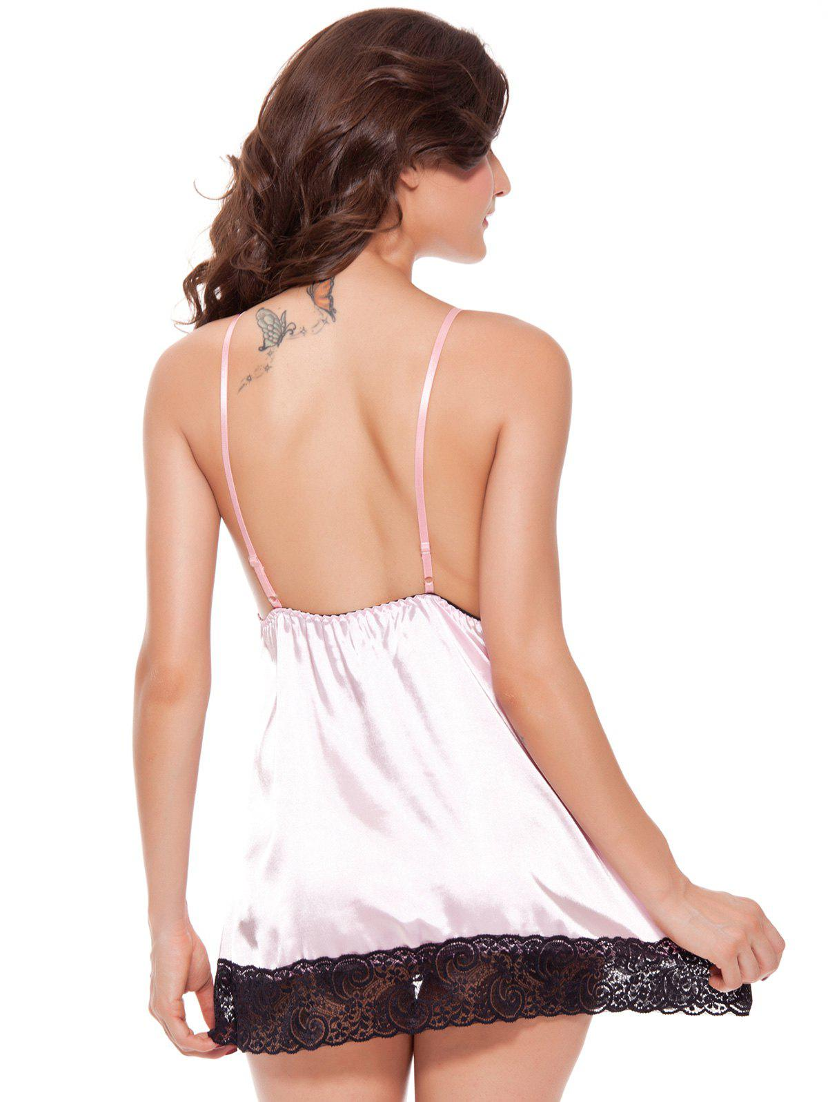 Lace Insert Cami Babydoll - PINK M