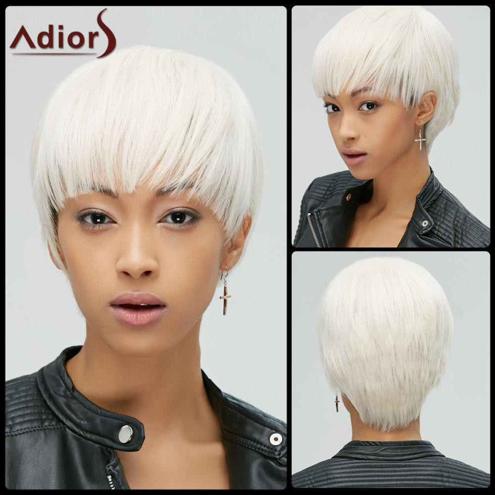Manly Synthetic Short Straight Full Bang Womens Rice White Hair Wig