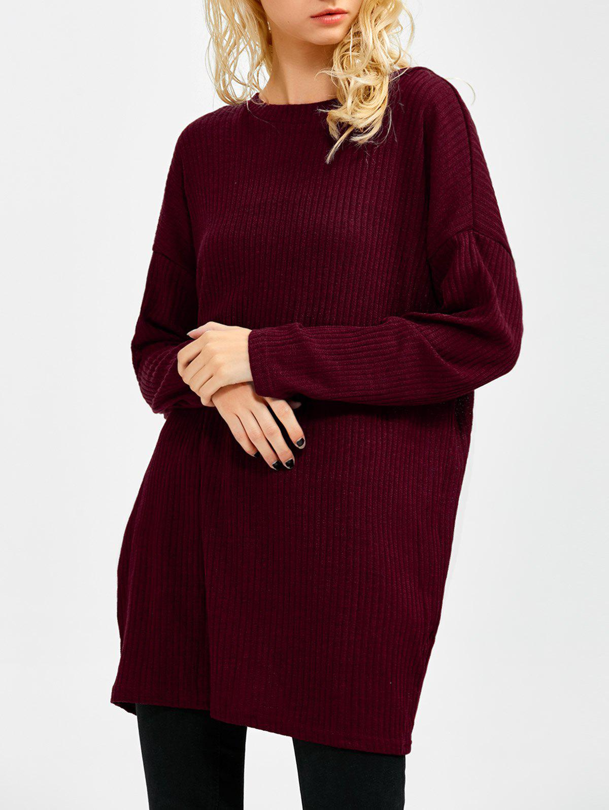 Skew Neck Long Sleeve Sweater - WINE RED S