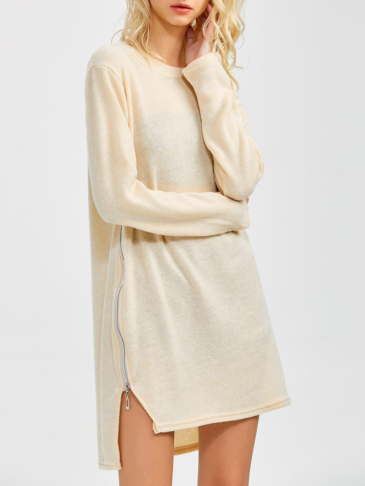 Zipped Tunic Jumper Dress - BEIGE S