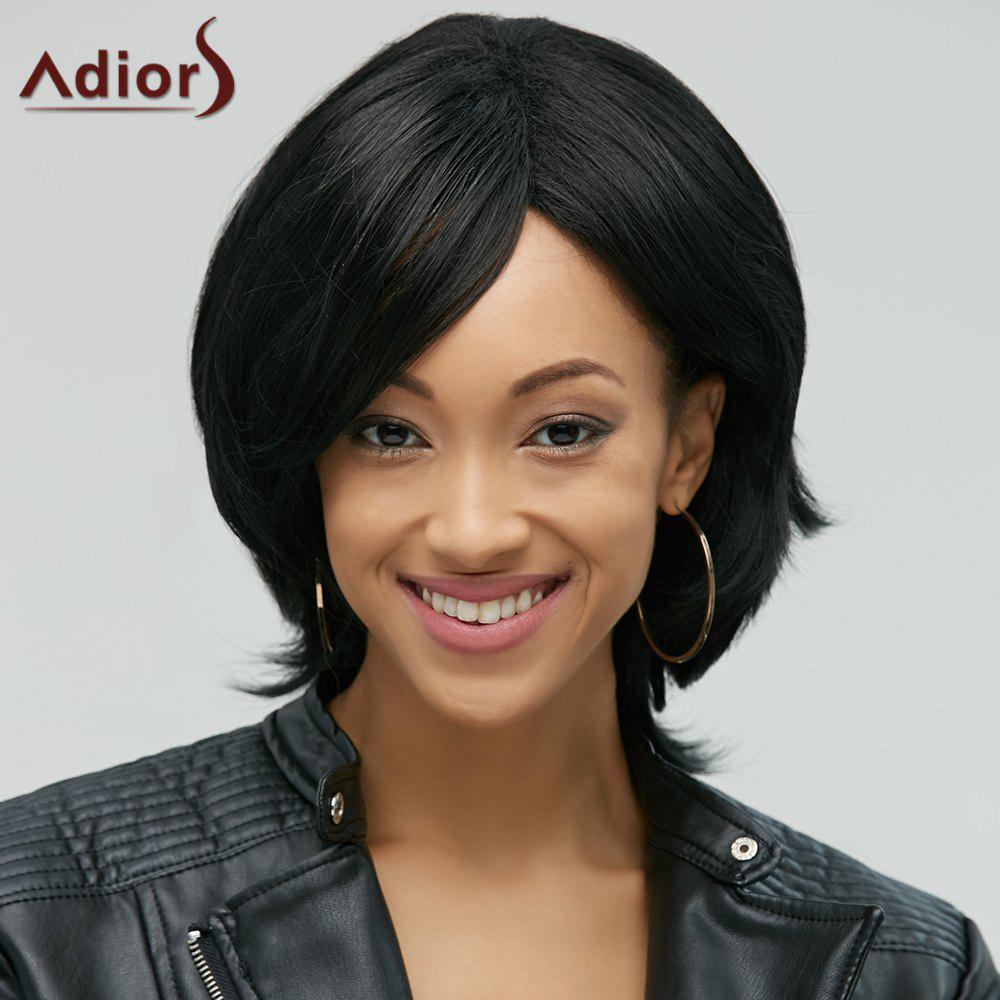 Fluffy Medium Natural Straight Stylish Black Side Bang Synthetic Womens Adiors WigHair<br><br><br>Color: BLACK
