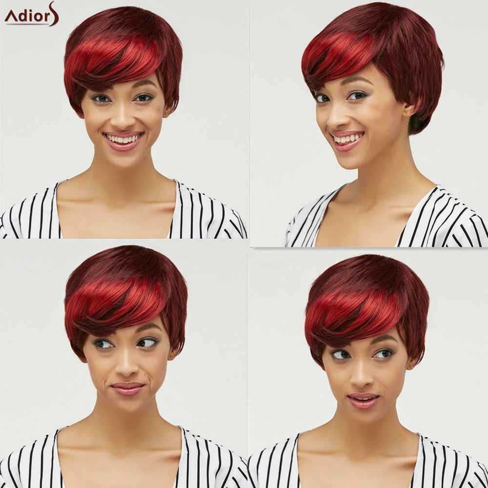 Fluffy Straight Short Synthetic Trendy Side Bang Red Mixed Brown Wig For Women