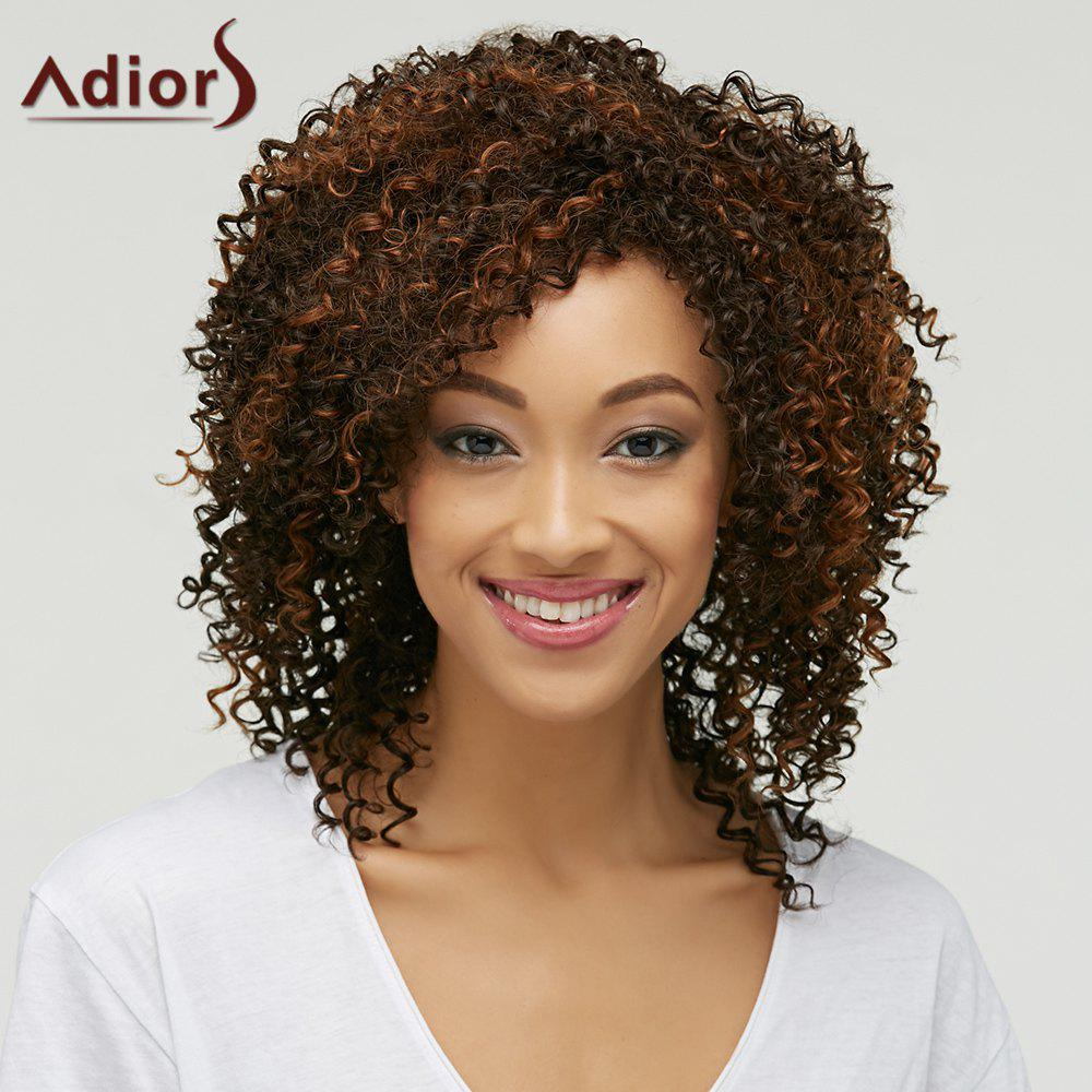 Fluffy Curly Synthetic Trendy Brown Mixed Medium Capless Wig For Women