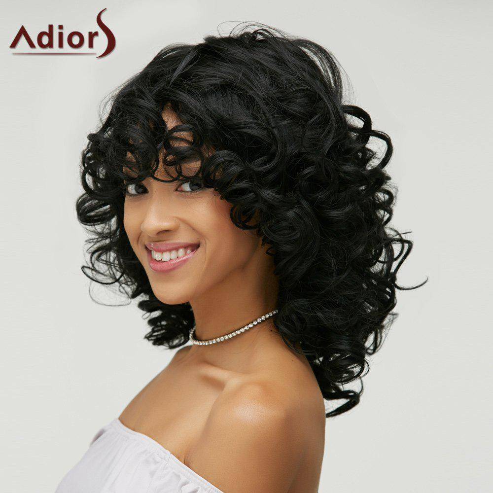 Excellent Fluffy Curly Black Synthetic Fashion Long Side Bang Capless Wig Hairstyles For Women Draintrainus