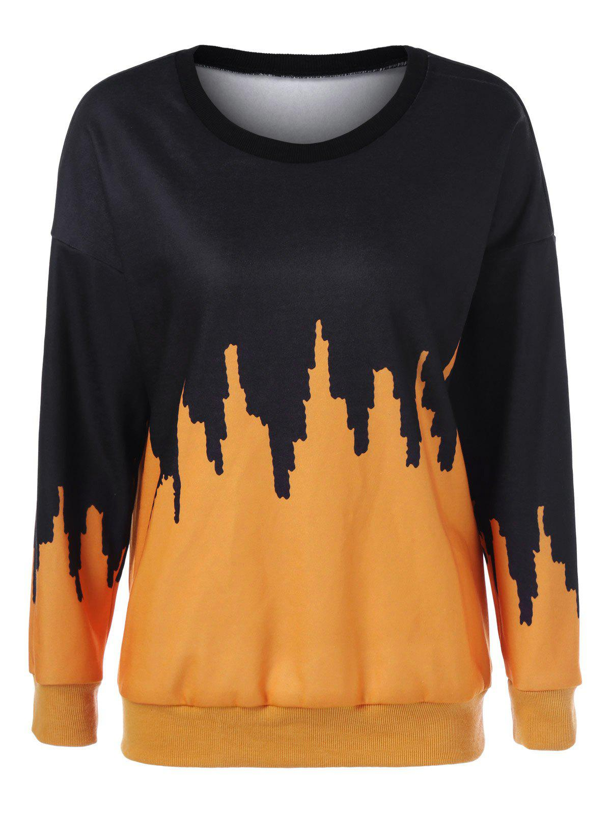 Drop Shoulder Print SweatshirtWomen<br><br><br>Size: L<br>Color: YELLOW AND BLACK