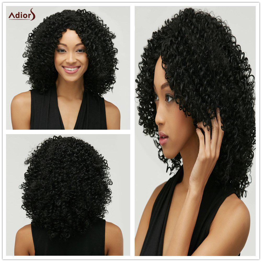 Towheaded Afro Curly Heat Resistant Synthetic Nobby Black Medium Capless Wig For Women - BLACK