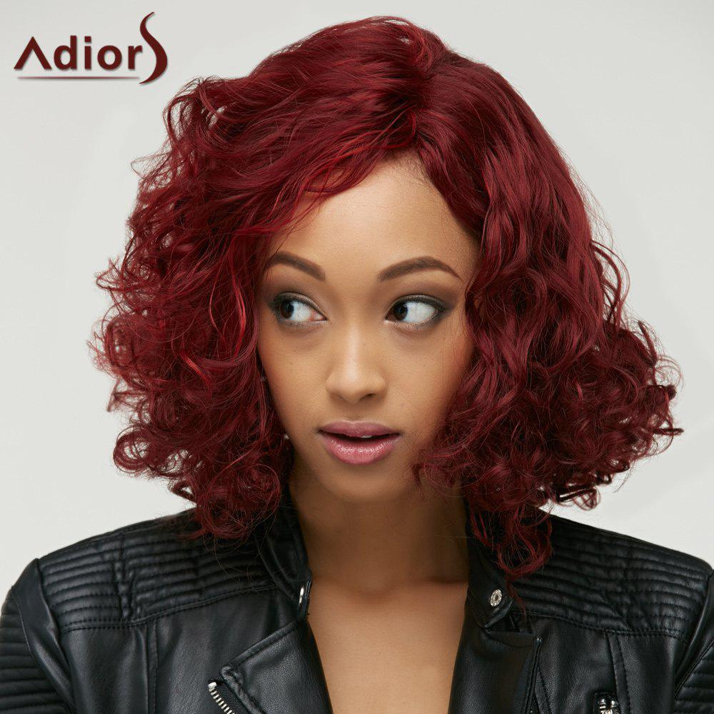 Sparkling Capless Medium Big Curly Wine Red Synthetic Wig For Women - WINE RED