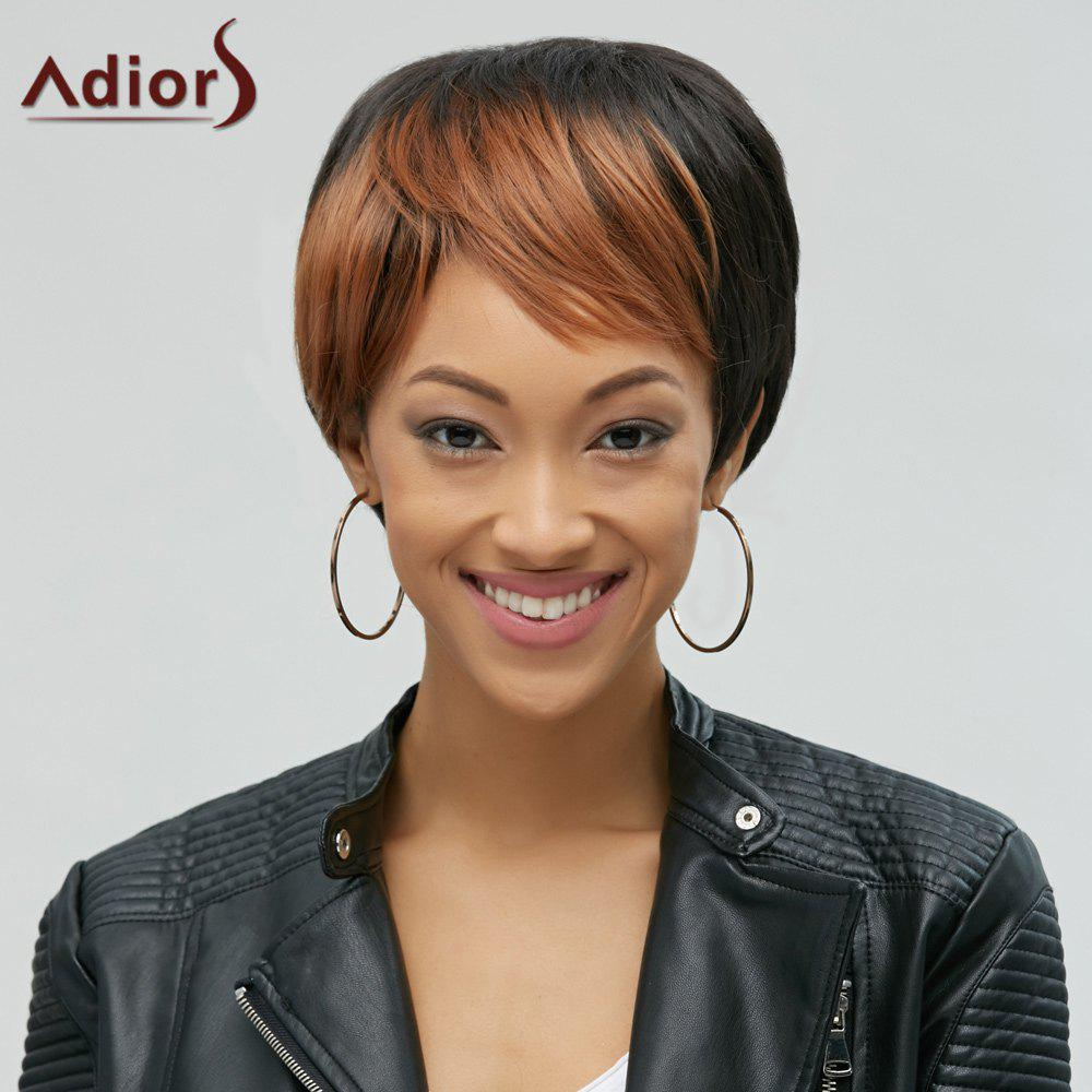 Short Adiors Hair Mixedcolor Synthetic Side Bang Wig
