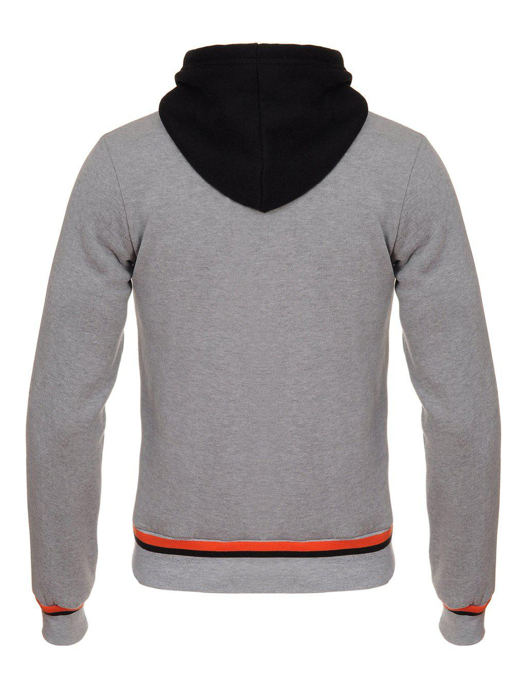 Color Block Faux Twinset Hooded Zip Up Flocking Hoodie - GRAY S