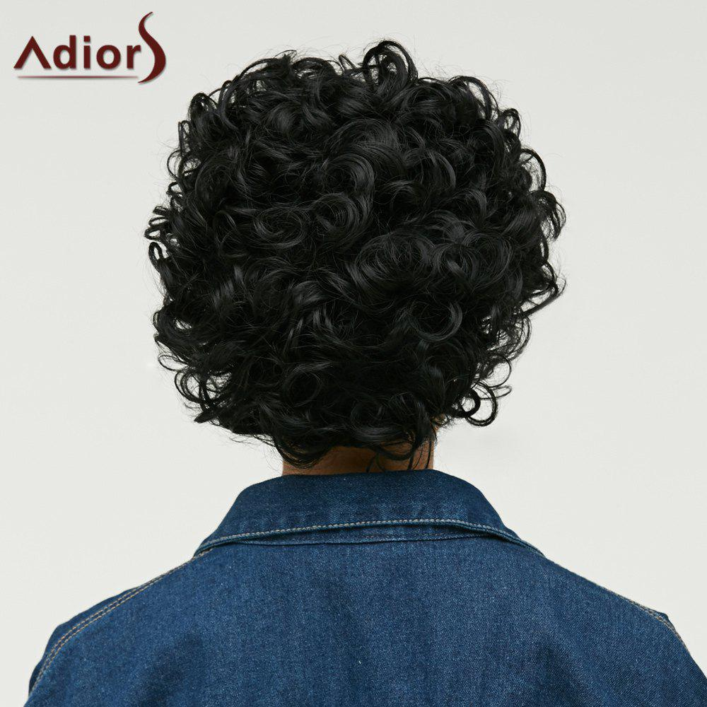 Cut Pixie Short Side Bang Curly Synthetic Wig - BLACK