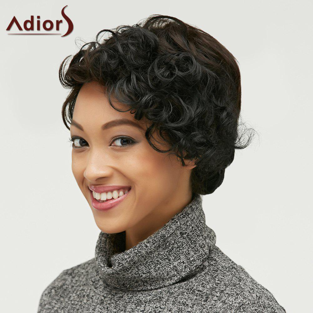 Side Bang Short Fluffy Curly Heat Resistant Fiber Wig - COLORMIX