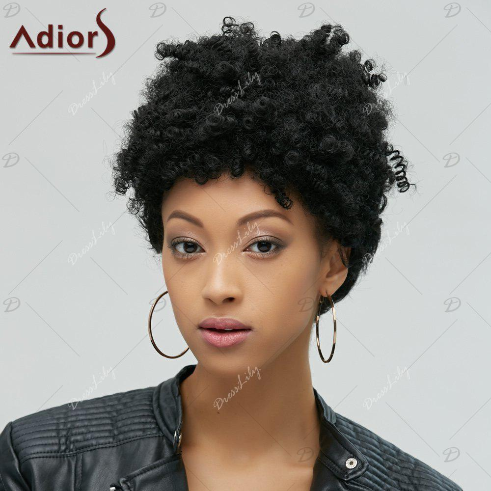 Fascinating Capless Short Afro Curly Synthetic WigHair<br><br><br>Color: BLACK