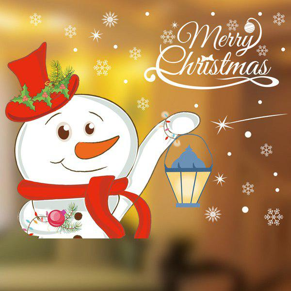 Removable Christmas DIY Snowman Pattern Wall StickersHome<br><br><br>Color: WHITE
