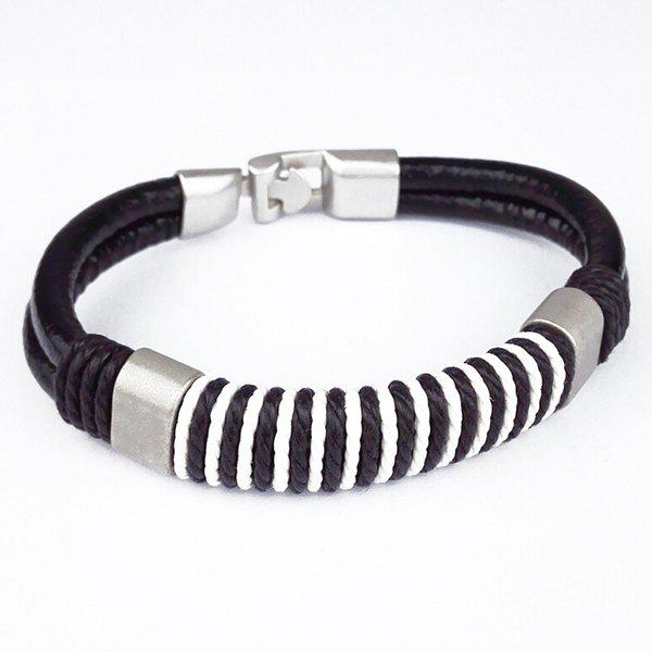 Simple Woven Rope Faux Leather Bracelet For Men - BLACK