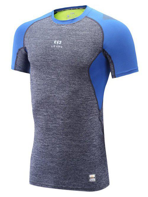 Color Block Spliced Raglan Sleeve Quick Dry Fitness T-Shirt - GRAY/BLUE M