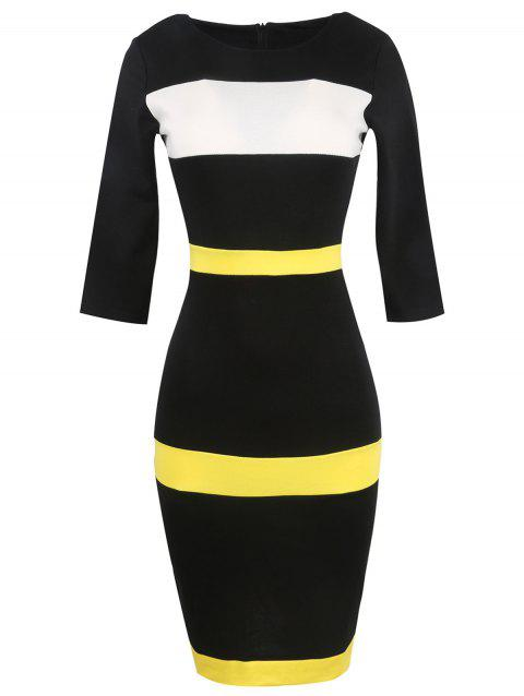 Bandage Bodycon Midi Dress with Sleeves - YELLOW S