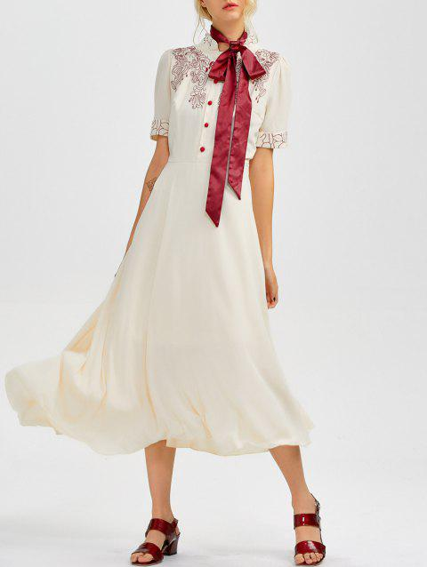 Floral Embroidered Going Out Swing Dress - LIGHT APRICOT S