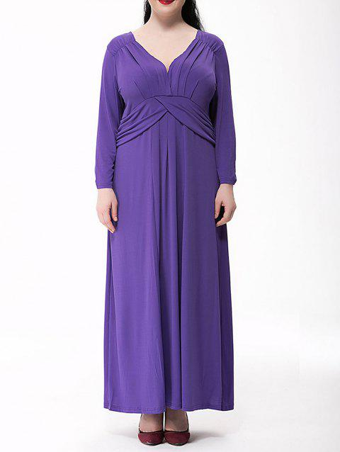 Plus Size Ruched Maxi Formal Dress with Long Sleeves - PURPLE 6XL