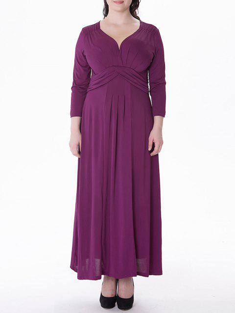 Plus Size Ruched Maxi Formal Dress with Long Sleeves - PURPLISH RED XL