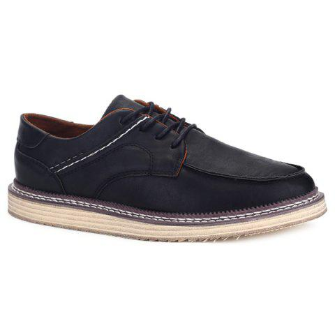 Faux Leather Tie Up Stitching Casual Shoes - BLACK 43