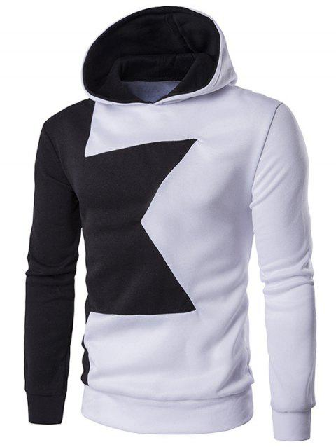 Two Tone Long Sleeve Pullover Hoodie - WHITE M
