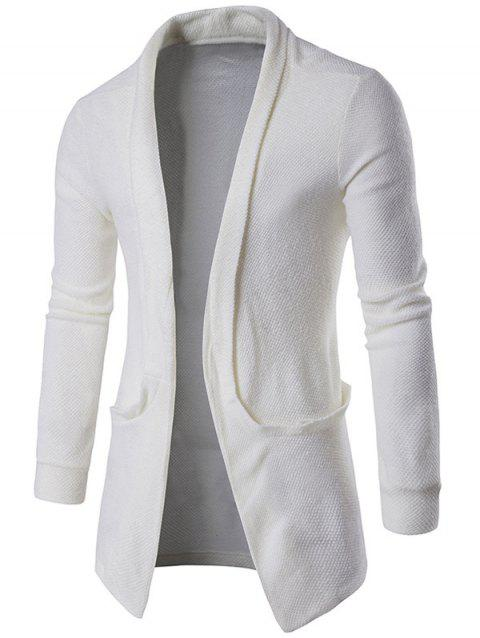 Texture Pocket Open Front Cardigan - WHITE M