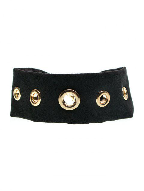 Rivet Suede Choker Necklace - BLACK