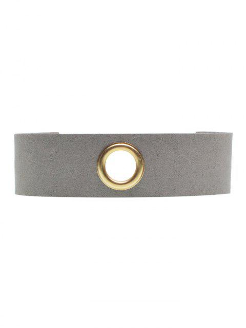 Rivet Hole Velvet Wide Choker - GRAY