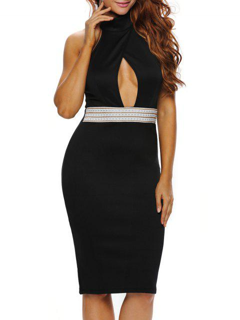 Halter Keyhole Sheath Backless Tight Club Dress - BLACK M