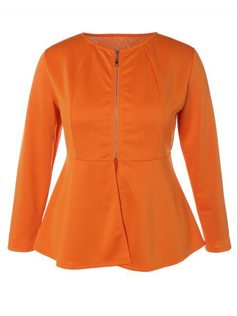 Zip Up Plus Size Skirted Jacket - ORANGE XL