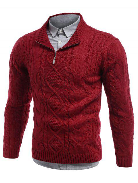 Stand Collar Cable Knit Half Zip Sweater - RED M