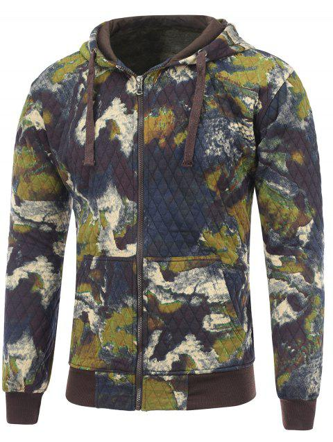 Zip Up Printed Pocket Quilted Hoodie - DEEP BLUE 2XL