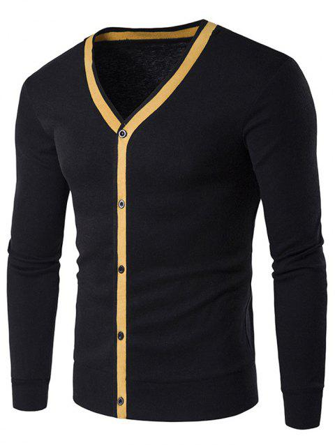V Neck Button Up Contrast Trim Cardigan - BLACK M