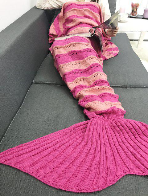 Warmth Stripe Pattern Knitting Mermaid Tail Blanket - SANGRIA