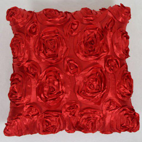 Sweet Home Decoration 3D Roses Back Cushion Pillow Case - RED
