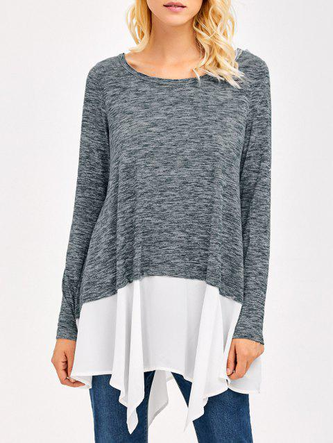 Heather Chiffon Trim Asymmetrical Tee - GREY/WHITE L