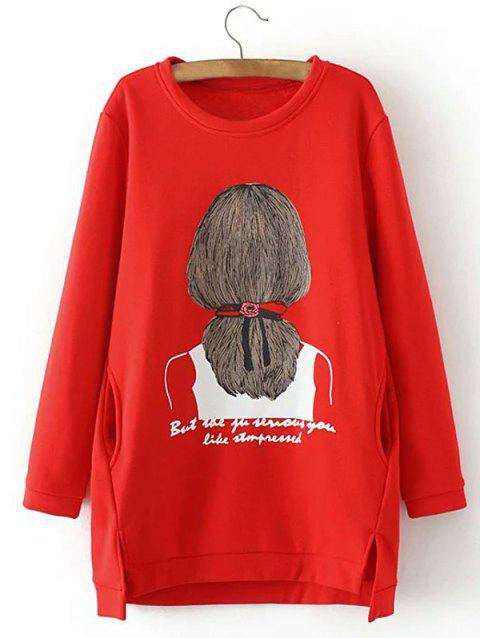 Sweat-shirt long fendu et à fille imprimée de grande taille - Rouge 2XL