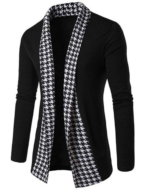 Houndstooth Open Front Knitted Cardigan - BLACK XL
