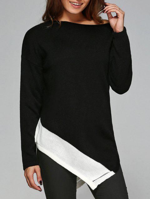 Slash Neck Asymmetrical Knitwear - WHITE/BLACK XL