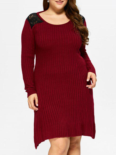 48a61b5dcbe 2019 Plus Size Lace Insert Ribbed Sweater Dress In WINE RED XL ...