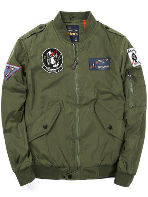 Zip Up Badge Patched Bomber Jacket - ARMY GREEN L