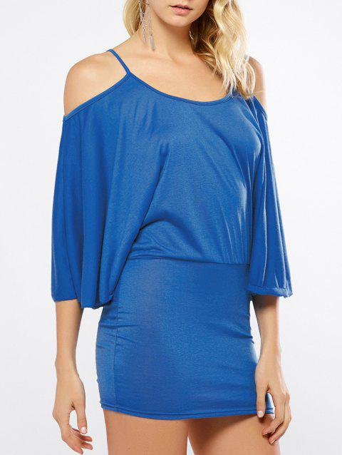 Dolman Sleeve Open Shoulder Mini Dress - BLUE S