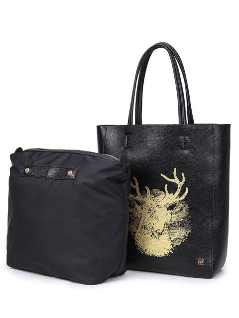 Colour Block Snaps Deer Printed Shoulder Bag - BLACK
