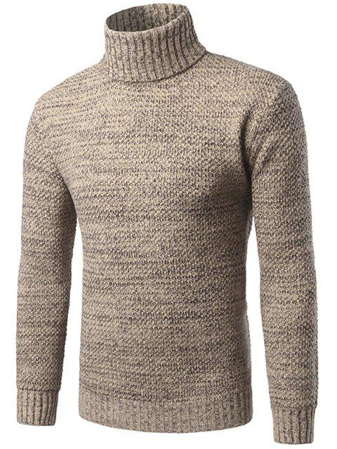 Heathered Turtleneck Pullover Sweater - KHAKI 3XL