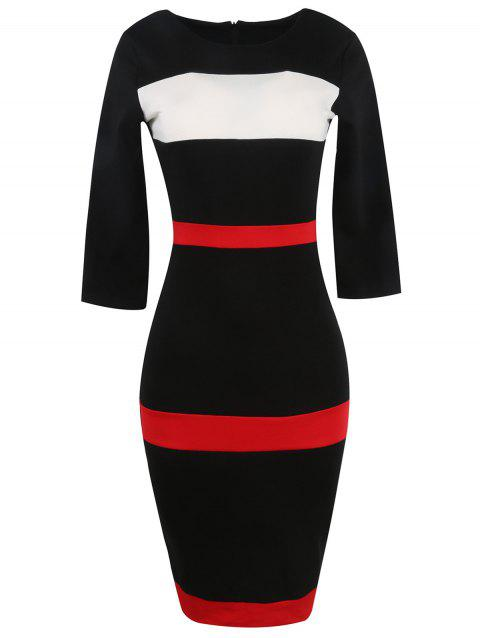 Bandage Bodycon Midi Dress with Sleeves - BLACK XL