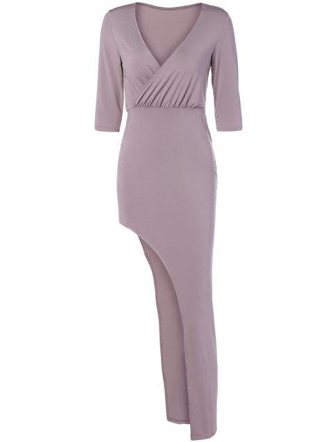 Surplice Asymmetrical Long Night Out Dress - LIGHT PINK S