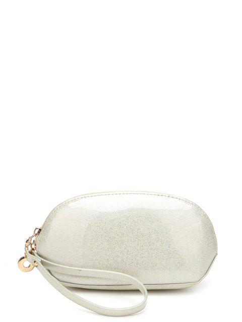 Cuir verni Zipper Around Wristlet - Blanc Cassé